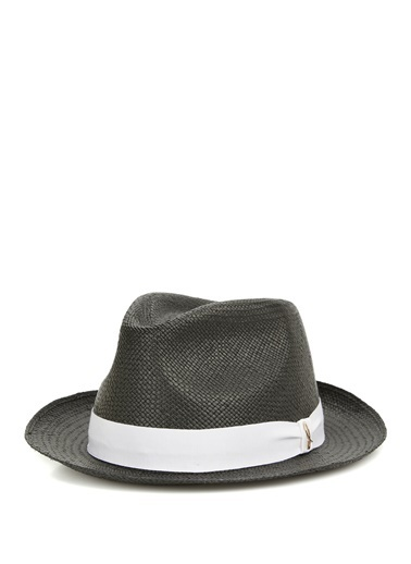 Doria Doria  Kontrast Bant Detaylı Erkek Hasır Şapka 101646504 Siyah